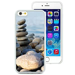 Fashionable And Unique Designed Cover Case For iPhone 6 4.7 Inch TPU With Beach Rocks Zen Macro_White Phone Case