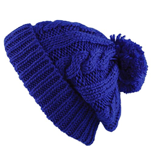 Thick and Warm Pom Pom Fleece Lined Skully Knit Beanie Hat (Royal Blue) (Blue Knit Beanie Cap Hat)