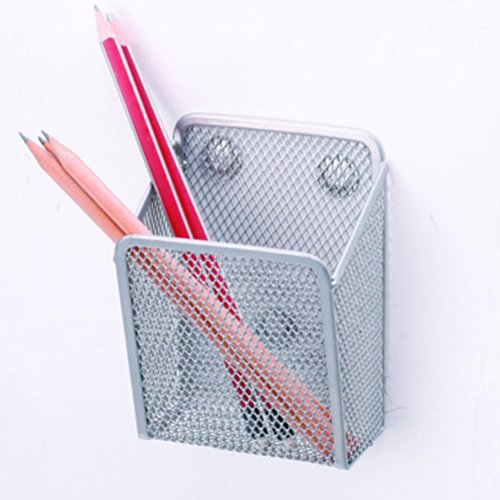 Ozzptuu Magnetic Sturdy Metal Mesh Pencil Holder Storage Basket Organizer for Whiteboard/Refrigerator/Magnetic Surface (Large Magnetic Metal Desk)
