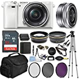 Sony Alpha a6000 Mirrorless Digital Camera (White) with 16-50mm Lens Professional Kit + 32 GB Sandisk Memory + Filters + Deluxe Bag + Auxiliary Lenses + Accessories