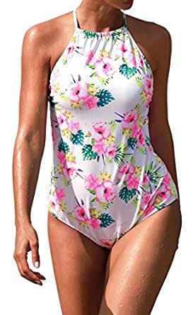Aixy Women's One Piece Swimsuits Retro High Neck Backless Floral Bathing Suits Monokini,Floral,S(US 0-2)