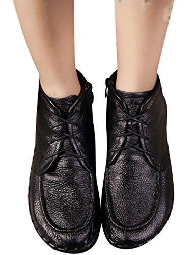 Wedges Shoes Zoulee Black Lace Shoes Women's Leather Toe height Increasing Round wfqTw8Wpz