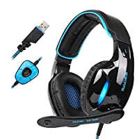 SADES USB Gaming Headset Game Headphones with Mic Volume Control LED Light for PC Mac Laptop