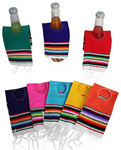 Del Mex 5 PACK Mini Mexican Serape Poncho Beer Bottle Drink Cover (Assorted) -