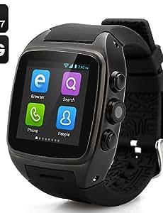 x01 portátil androide 4.4 del teléfono del reloj, llamadas 2.0MP / WiFi / GPS de manos libres / control de los medios de comunicación / , black