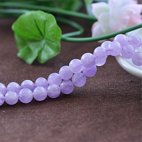 Grade AAA Natural Light Purple Jade Beads Lavender Color Jade NOT Dyed 6mm 8mm 10mm 12mm 14mm Smooth Polished Round 15 Inch Strand for Jewelry Making JA11 ()