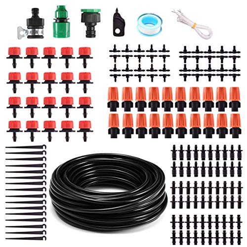 MSDADA 50ft Micro Drip Irrigation Kits System,Garden Saving Water Automatic Drip Irrigation Equipment Set Included Atomizing Nozzle Mister Dripper and All Accessories for Greenhouse Plant Watering