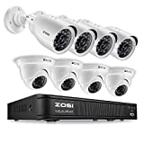 ZOSI 720p HD-TVI Home Surveillance Camera System ,8 Channel Security Dvr (No Hard Drive) and (8) HD 1.0MP 1280TVL Outdoor/Indoor Day Night CCTV Cameras