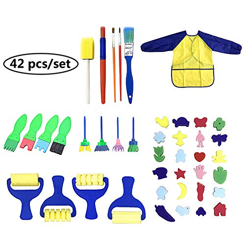 LuckCome Waterproof Craft Drawing Tools Set,42 Pieces Sponge Drawing Shapes Paint Craft Brushes Early Learning Toy (42pcs/Set) ()