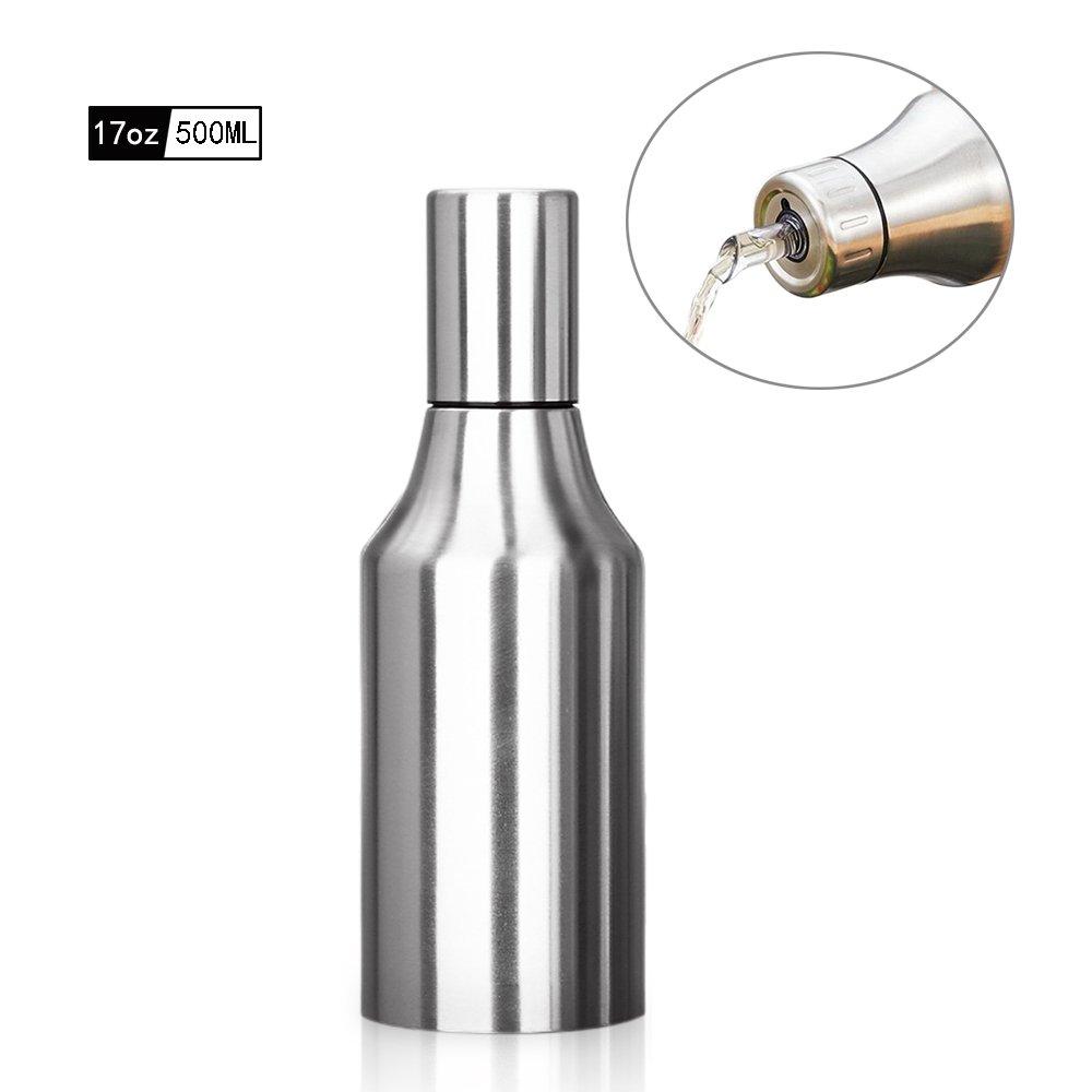 HQGOODS Oil Dispenser,Stainless Steel Olive Oil/Vinegar/Sauce Cruet Oil Bottle Edible Oil Container Pot - Non drip Pouring Spout Perfect for BBQ(17 oz/500ML)