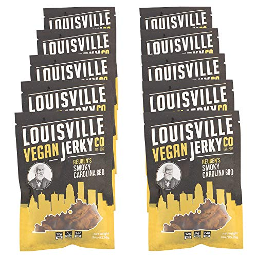 Louisville Vegan Jerky - Smokey Carolina BBQ, Protein Source for Vegans and Vegetarians, 12 Grams of Non-GMO Soy Protein, Gluten-Free Ingredients (Pack of 10, 3 Ounces)