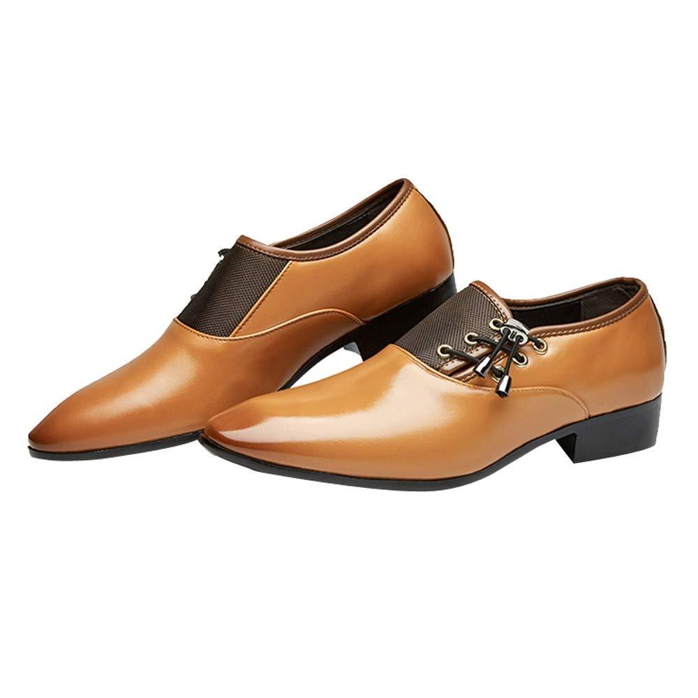NINGSANJIN Chaussures Hommes Cuir Faux Moderne Classique Lacets Doublé Perforé Oxfords Oxfords Perforé Chaussures 41|Jaune 8b49d3