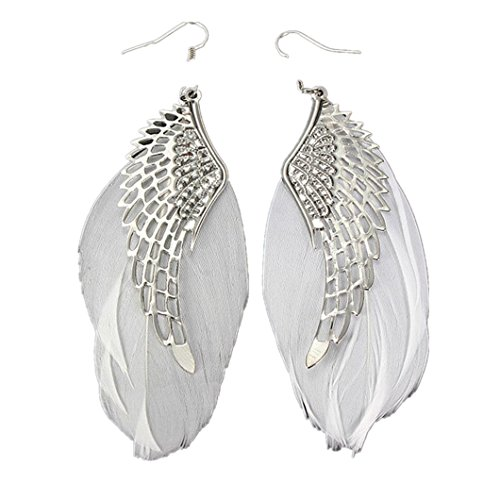 Angel Earrings White - Clearance! Elogoog Fashion Jewelry 11cm Angel Metal Wing Bohemian Handmade Vintage Feather Long Drop Earrings (White)