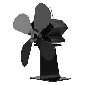 Ventilador de estufa, 4 cuchillas Calentador de estufa Ventilador de leña Quemador de leña Ecofan Silencioso Ventilador de chimenea casero negro ...