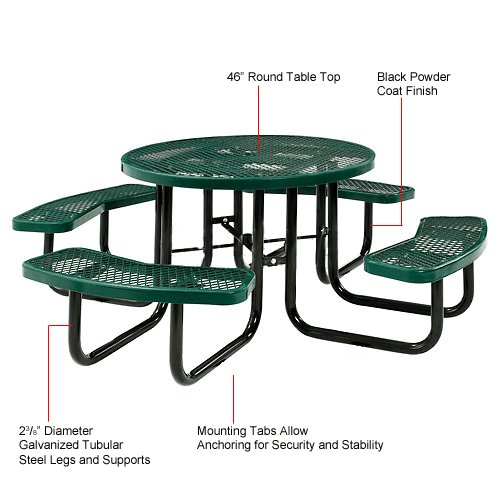 Lifeyard 46 expanded round metal mesh commercial blue - Aluminium picnic table with umbrella ...