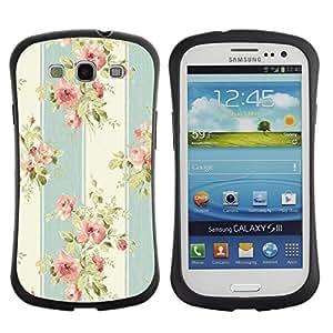 "Pulsar iFace Series Tpu silicona Carcasa Funda Case para SAMSUNG Galaxy S3 III / i9300 / i747 , Tela Pastel Vintage flor del pétalo"""