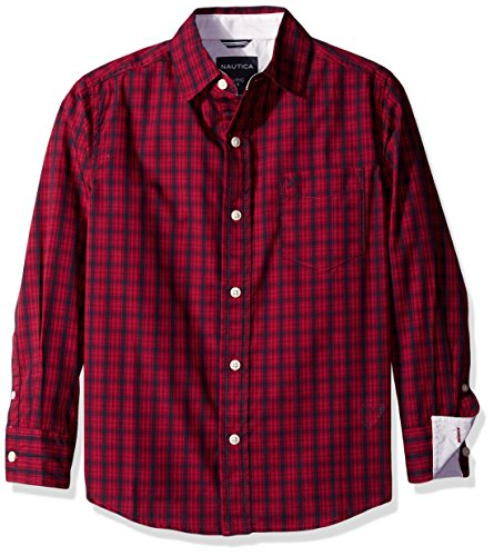 nautica big boys reefer plaid long sleeve woven shirt red. Black Bedroom Furniture Sets. Home Design Ideas