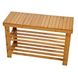 Lucky tree Bamboo Shoes Storage Rack 2-Tier Shoe Bench Seat for Entryway Shelf Organizer for Hallway