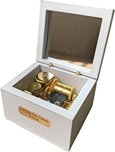 YouTang(TM) 18 Note Wind-up Wooden Music Box Musical Toys,Gold Movement-Different Color and Tune Available (White, Tune:Lilium from Elfen Lied)