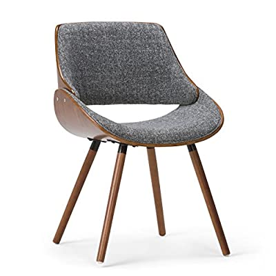Simpli Home AXCMALW-G Lowell Dining Chair Charcoal Grey - Grey fabric upholstery Constructed using plywood, veneer, solid wood and foam Comfortable curved padded Seat and Seat Back - kitchen-dining-room-furniture, kitchen-dining-room, kitchen-dining-room-chairs - 51UjfOvYSiL. SS400  -
