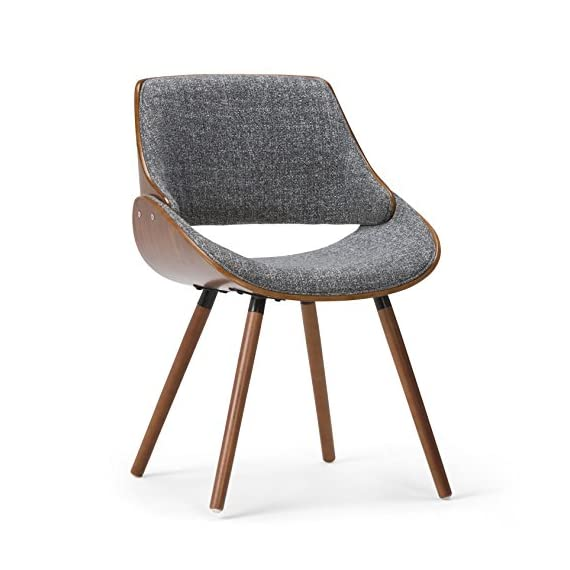 Simpli Home Malden Mid Century Modern Bentwood Dining Chair with Wood Back in Grey Woven Fabric - Chairs constructed using solid and engineered wood and high density foam for more comfortable seating Upholstered with Grey and Natural woven fabrics. Comfortable curved padded seat and seat back Walnut veneer on bentwood frame - kitchen-dining-room-furniture, kitchen-dining-room, kitchen-dining-room-chairs - 51UjfOvYSiL. SS570  -