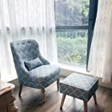 Magshion Elegant Upholstered Fabric Club Chair Accent Chair W/ Ottoman Living Room Set (Light Blue)