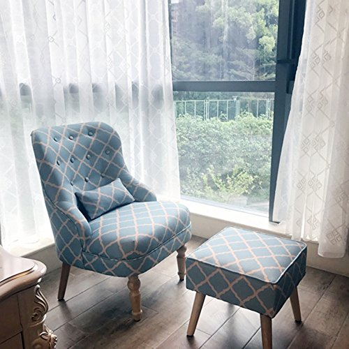 Magshion Elegant Upholstered Fabric Club Chair Accent Chair W/ Ottoman Living Room Set (Light Blue) Club Chair Ottoman