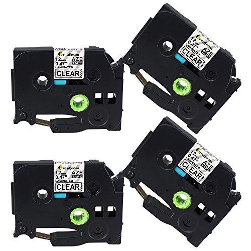 Compatible P-Touch Tape 12mm Clear Brother TZe Tape TZe-131 TZ131 TZe131 for Brother Label Maker PT-D210 PT-H110 PT-1290 PT-P710BT PT-1880 PT-D400AD,(0.47 Inch x 26.2 Ft) 4-Pack