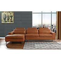 Modern Large Leather Sectional Sofa, L-Shape Couch with Extra Wide Chaise Lounge (Camel)