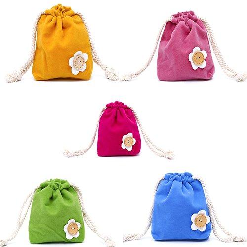 1 Toile de rangement noce d'objet Couleur pochette Aléatoire de de bonbons cordon de Motif à fleurs sac cadeaux PC Sac en LAAT à Sac xR4fIw