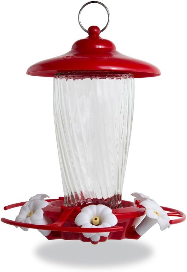 Pennington oz Decorative Glass Hummingbird Feeder, Red