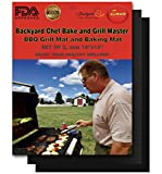 "Backyard Chef Grill Master BBQ Grill Mat FDA Approved Heavy Duty Non-Stick Best Grill Mat 16x13"" Set of 2 - Great Gift Ideas Best BBQ Accessories"