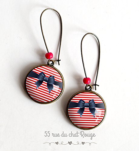 earrings, cabochon, bow tie, red stripes, marinière, 50's ()