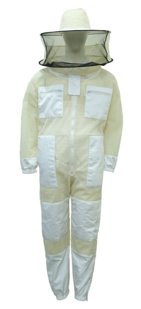 Professional Bee Unisex White Fabric Mesh Beekeeping Suit Sting Proof Bee Suit Ventilated Bee Suit Bee Protection Suit Honey Bee Suit Beehive Suit Medium (White) by Professional Bee