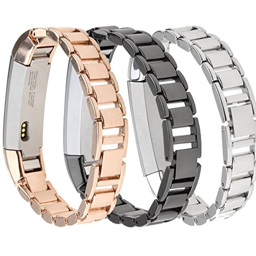 Fitbit Alta Metal Bands, SailFar 3PCS Stainless Steel Replacement Accessory Bracelet Strap Wrist Watch Band Small Large for Fitbit Alta, Men/Women, Silver, Rose Gold,Black Photo #4