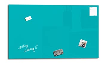 Smart Glass Board® 90 x 45 cm, turquesa, pizarra magnética de cristal/borrado en seco/pizarra magnética de cristal Pin + 3 Imanes + 1 Marcador