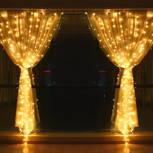 Quntis LED Curtain Lights, LED String Lights 300 LEDs 29V Warm White LED Fairy Icicle Starry Lights Decor for Home Bedroom Kitchen Garden Window Wedding Party Holiday Christmas, UL588 Certified by Quntis (Image #4)