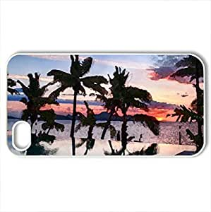 Sunset over pool Fiji - Case Cover for iPhone 4 and 4s (Sunsets Series, Watercolor style, White)