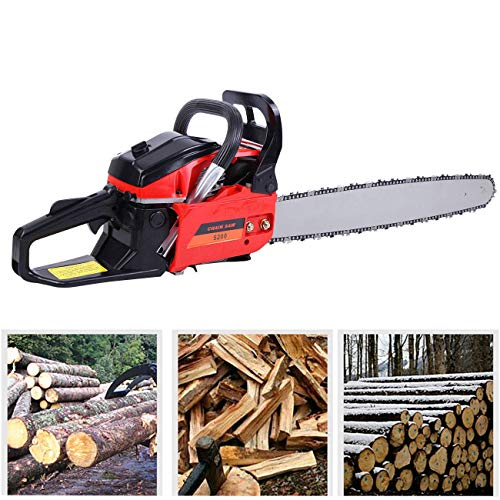 "TryE 52cc 22"" Bar Petrol Chainsaw 2 Stroke Tree Wood Cutting Garden Gas Powered Chain Saw"