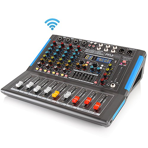 - 4-Channel Bluetooth Studio Audio Mixer - DJ Sound Controller Interface with USB Drive for PC Recording Input, XLR Microphone Jack, 48V Power, Input/Output for Professional and Beginners - PMXU46BT