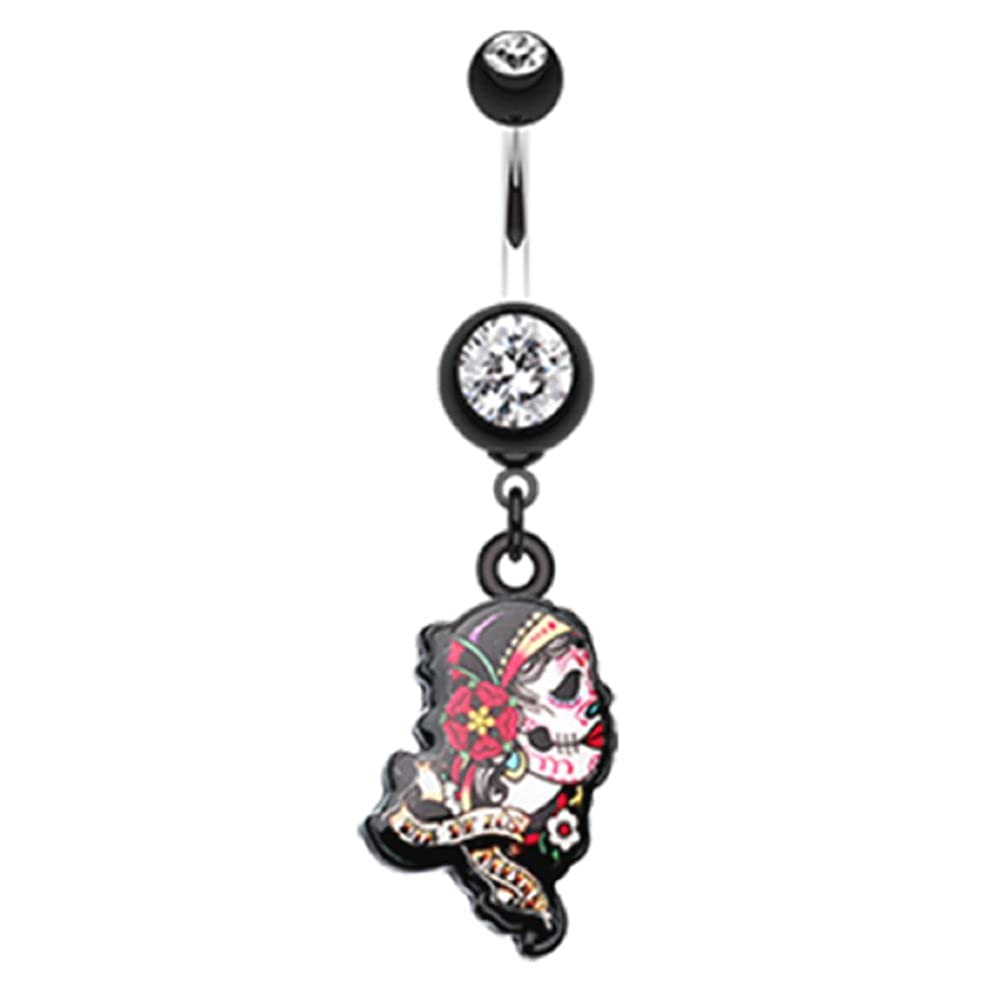 Sold by Piece Gypsy Sugar Skull 316L Surgical Steel Freedom Fashion Belly Button Ring