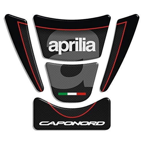 ADESIVI PARASERBATOIO TANKPAD RESINATO EFFETTO 3D - ADESIVI-STICKER 3D compatible ,, APRILIA CapoNord nero+carbon look mod. D-Top 21,5x18,5cm,,