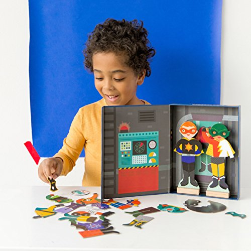 Petit Collage Magnetic Dress-Up, Superheroes, 27 Magnetic Pieces to Create Over 80 Costumes