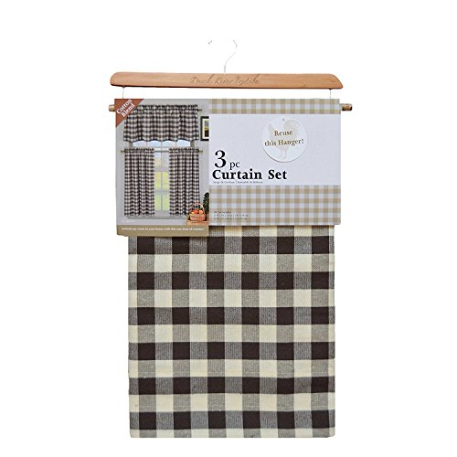 Home Maison Kingston Plaid Gingham Checkered Cotton Blend Kitchen 3 Piece Window Curtain Tier & Valance Set, 2 Tiers 29 x 36 & One Valance 58 x 15, Brown