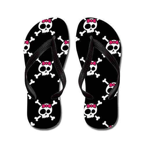 Cafepress Whimsical Skull & Crossbones W / Bow - Chanclas, Sandalias Thong Divertidas, Sandalias De Playa Negras