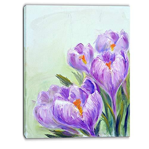 Crocus Art Design - DESIGN ART Designart - Crocuses Looking into Sky - Floral Canvas Print - Purple 8 in. Wide x 12 in. high