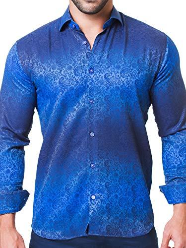 Maceoo Mens Designer Dress Shirt - Stylish & Trendy - Fibonacci Paisley Navy Degraded - Tailored Fit (Cotton Italian Shirt Collar Dress)
