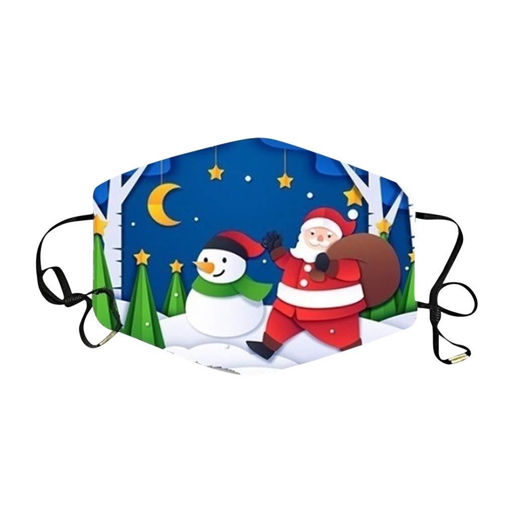 Pack 5//10 Pezzi Copri Bocca Faccia per Adulte 10-a Stampa di Natale Lavabile Riutilizzabile Antipolvere Bandana per Donna e Uomo Fasce Filtranti Viso Bocca Naso Fascia Protettivo