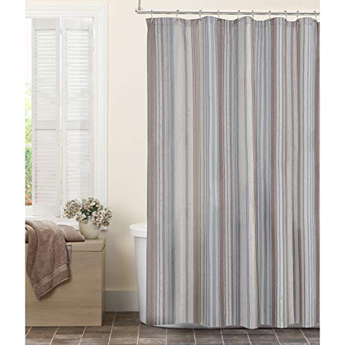 MAYTEX Jodie Chenille Striped Fabric Shower Curtain, 72X72 Blue Stripe Chenille Fabric