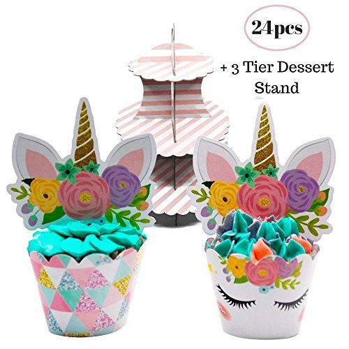 Coco & Ella Unicorn Party Cupcake Toppers Wrappers - Birthday Baby Shower Party Cake Decorations 24 Pcs Set + 3 Tier Cupcake Dessert Tower Stand by Coco & Ella (Image #1)